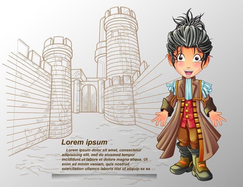 Caráter do nobre no estilo dos desenhos animados ilustração stock