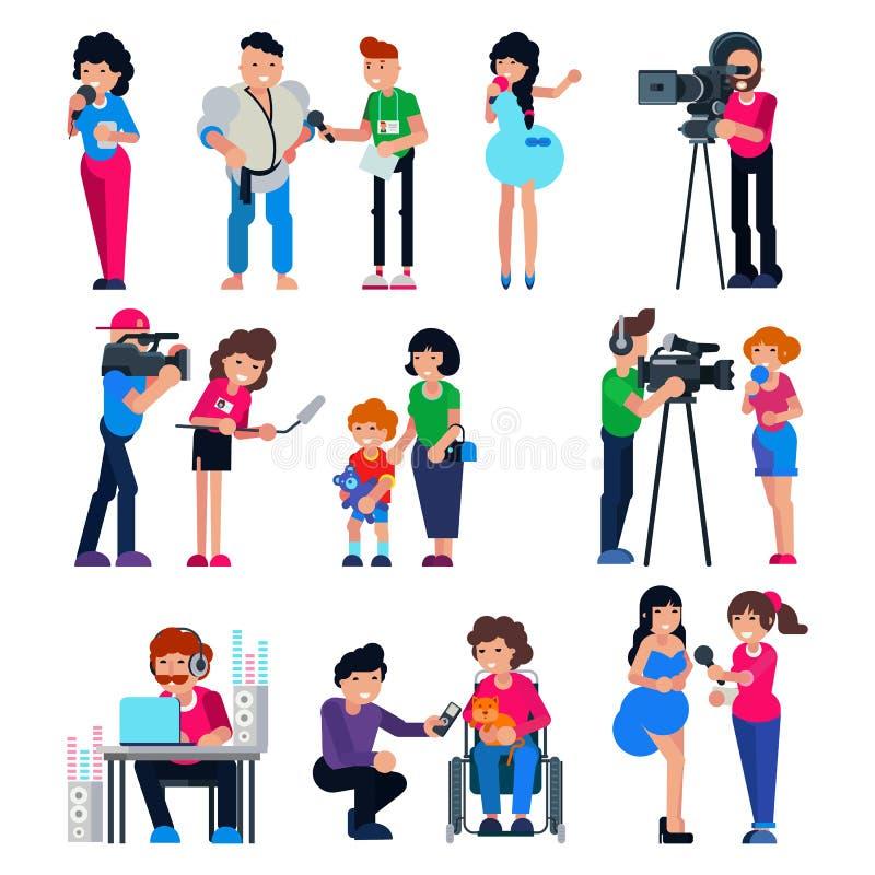 Caráter do operador cinematográfico do vetor do journalista e notícia da transmissão do repórter da tevê ou entrevista da imprens ilustração royalty free