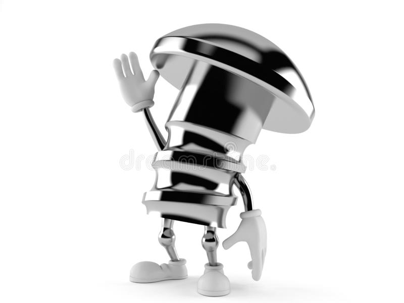 Caráter do parafuso com mão acima ilustração stock