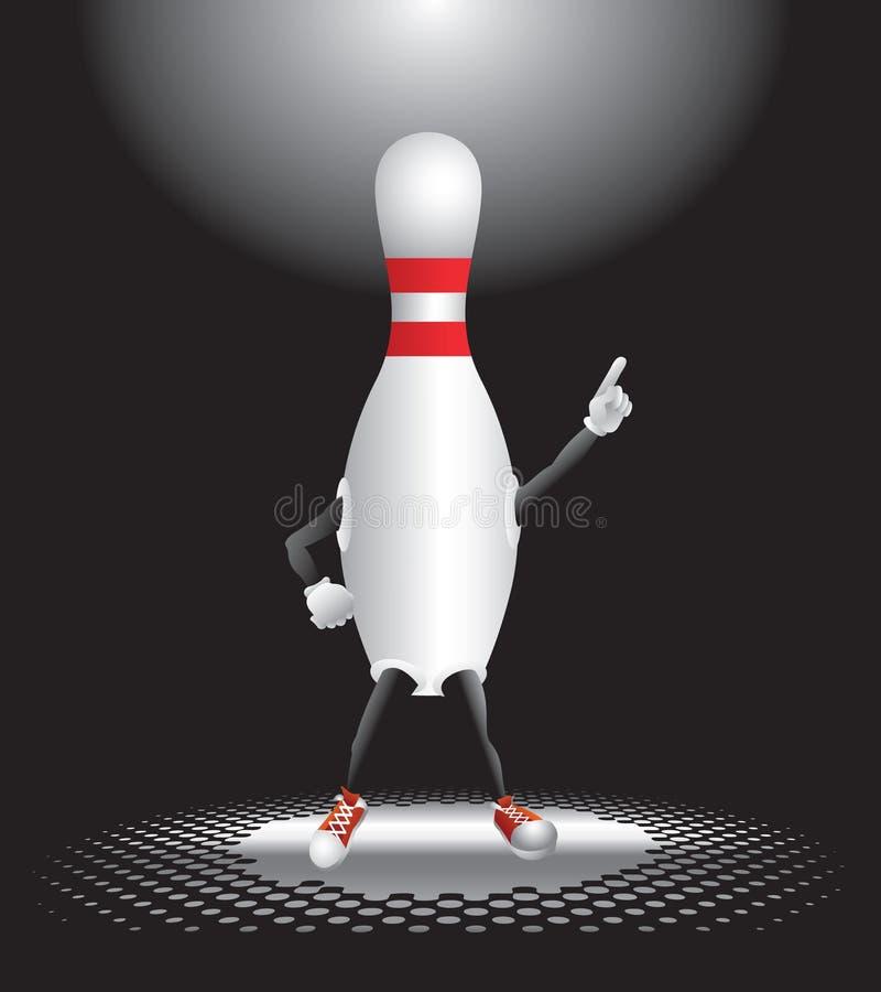 Caráter do pino de bowling sob o projector ilustração stock