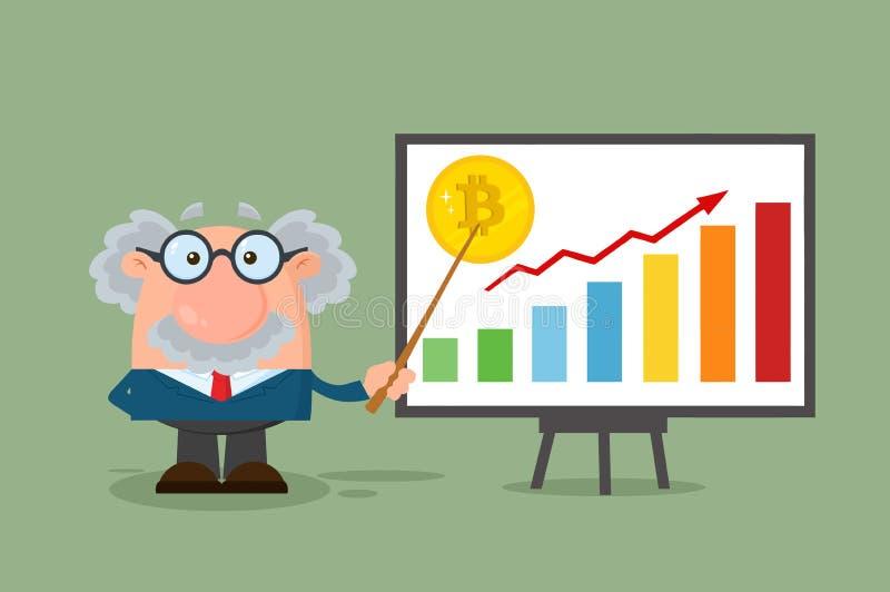 Caráter do professor Or Scientist Cartoon com ponteiro que discute o crescimento de Bitcoin com um gráfico de barra ilustração do vetor