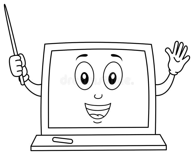 Caráter do quadro-negro da coloração com ponteiro ilustração stock