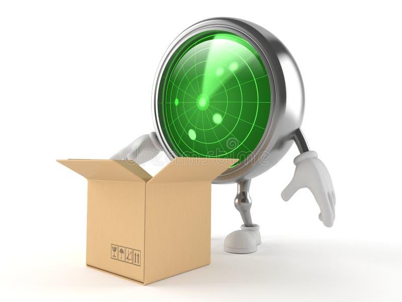 Caráter do radar com caixa aberta ilustração do vetor