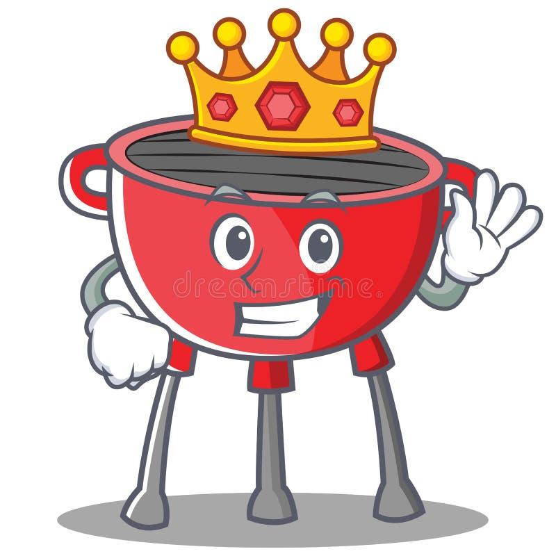 Caráter do rei Barbecue Grill Cartoon ilustração stock