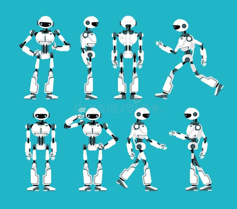 Caráter do robô Mecanismo robótico dos desenhos animados, grupo do vetor do humanoid ilustração stock