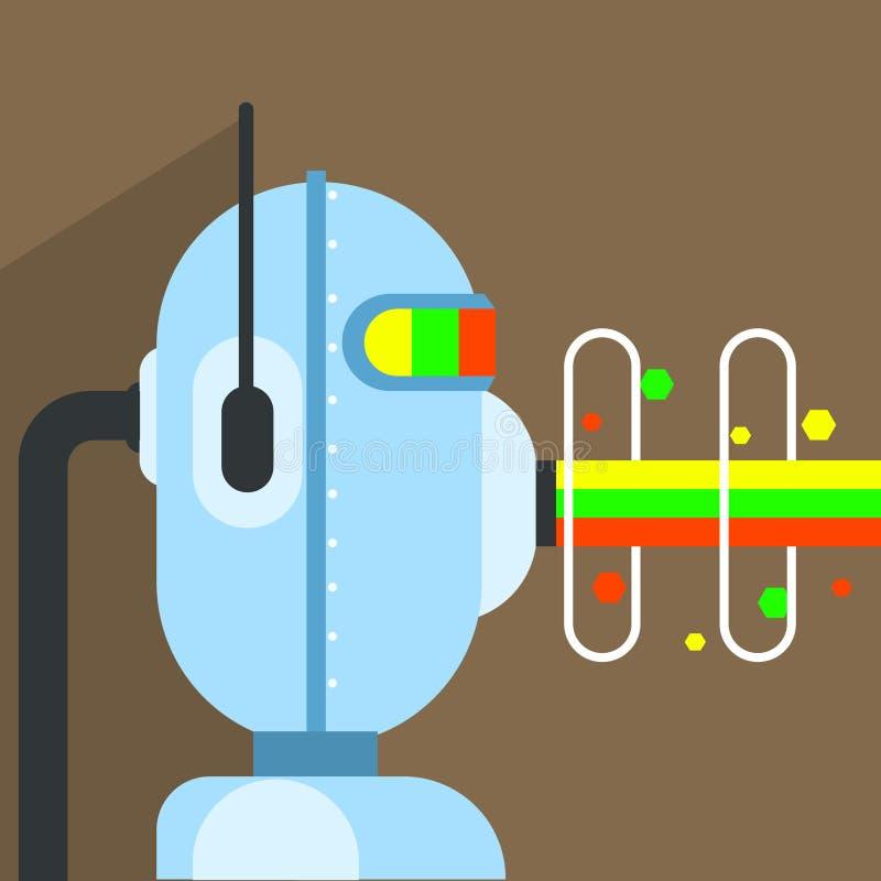 Caráter do robô com o feixe da energia que vem para fora boca ilustração stock