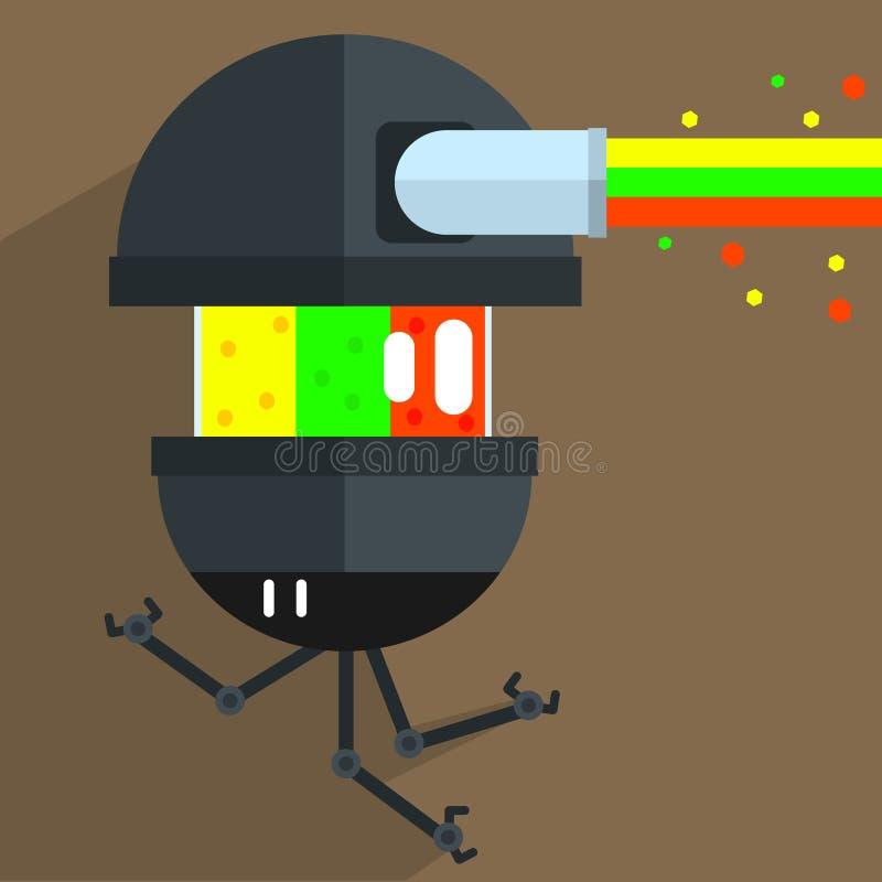 Caráter do robô do zangão do exército ilustração do vetor