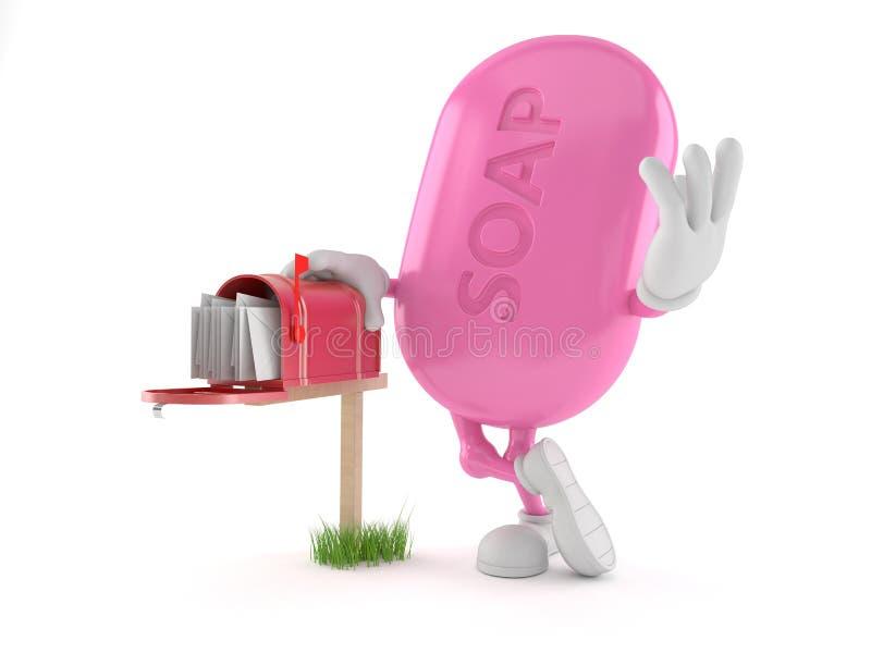 Caráter do sabão com caixa postal ilustração stock