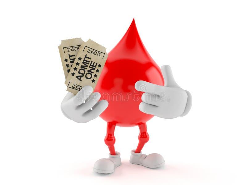 Caráter do sangue que guarda bilhetes ilustração royalty free