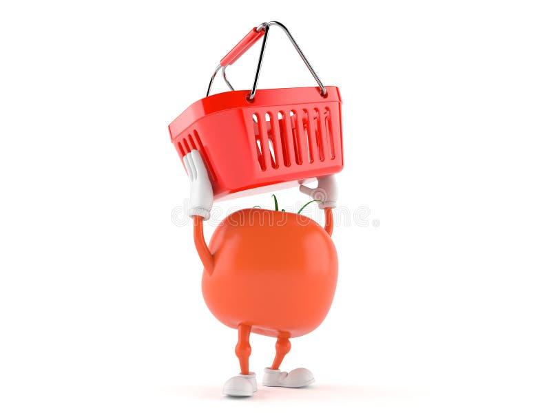 Caráter do tomate que guarda o cesto de compras ilustração stock