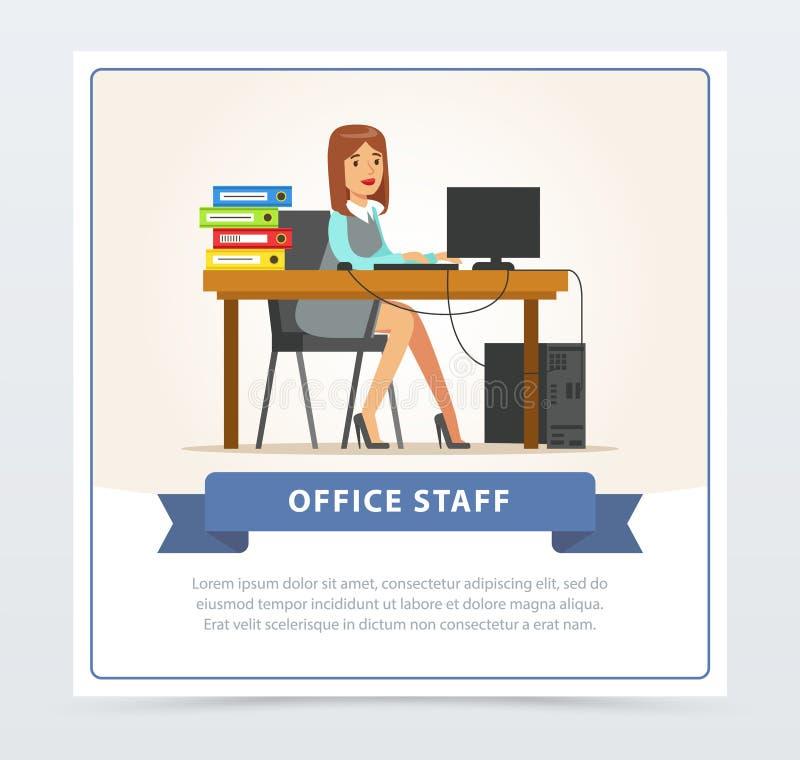 Caráter do trabalhador de escritório da mulher que trabalha no computador Mulher ou caixeiro de negócio que sentam-se em sua mesa ilustração do vetor
