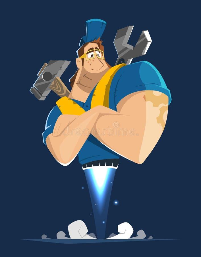 Caráter do vetor do homem do mecânico do reparador do trabalhador manual do trabalhador do trabalhador ilustração royalty free