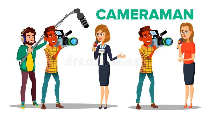 Caráter do vetor dos desenhos animados de Filming Journalist Interview do operador cinematográfico ilustração royalty free