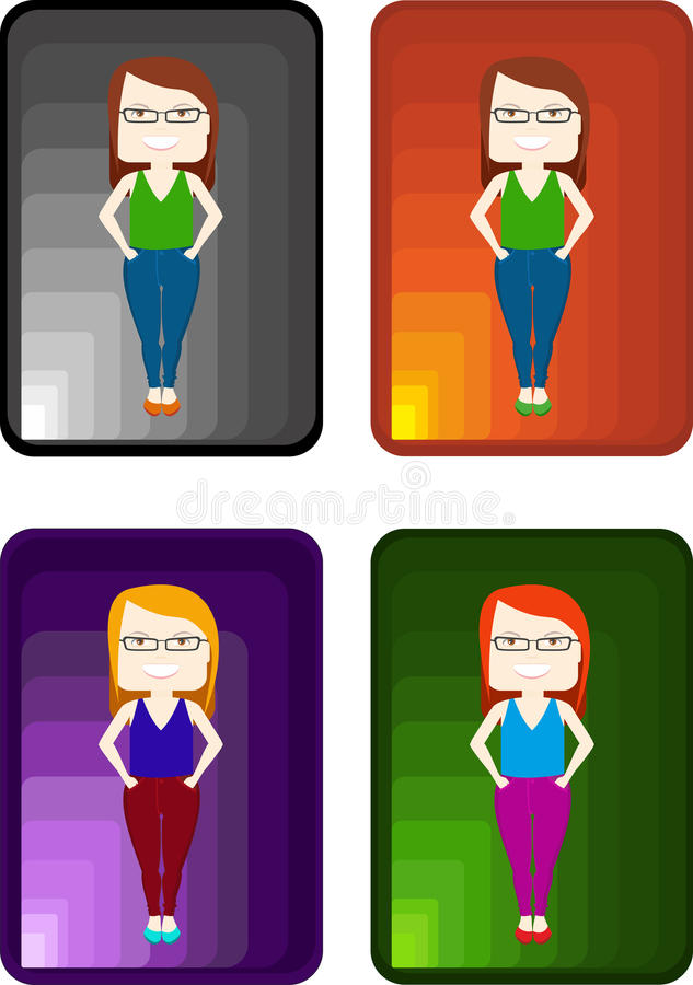 Caráter do vetor dos povos Meninas à moda ajustadas em fundos coloridos ilustração do vetor