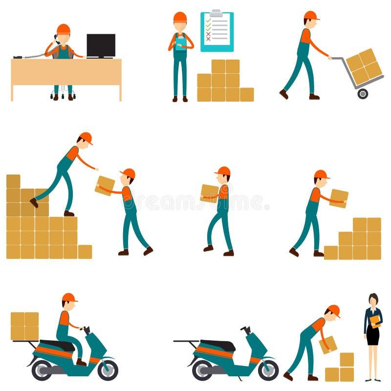 Caráter do vetor logístico e trabalhos de equipa do negócio de transporte ilustração do vetor