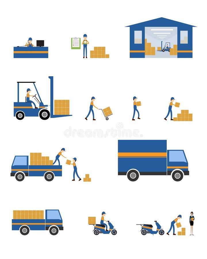 Caráter do vetor logístico e trabalhos de equipa do negócio de transporte ilustração royalty free