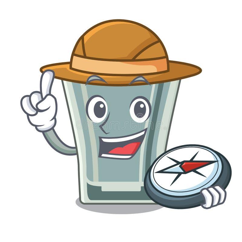 Caráter do vidro de tiro do explorador no refrigerador ilustração stock