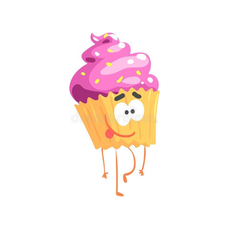 Caráter doce bonito do queque, ilustração engraçada do vetor da sobremesa dos desenhos animados ilustração stock