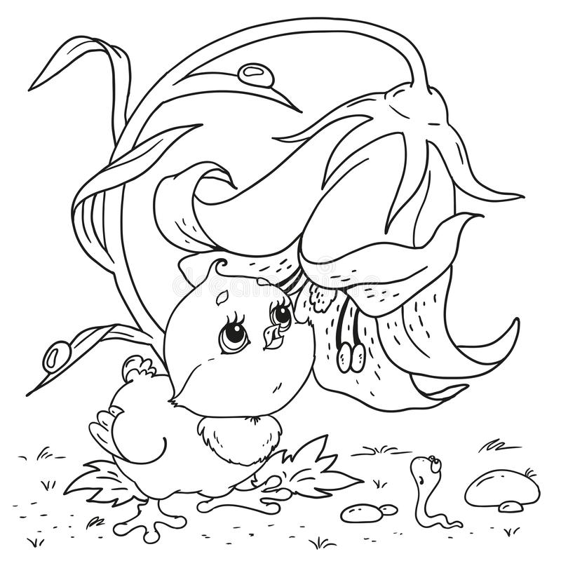 Caráter doce do pintainho Sem-fim do personagem de banda desenhada Ilustração do vetor Desenho da mão no fundo branco Pintainho e ilustração stock