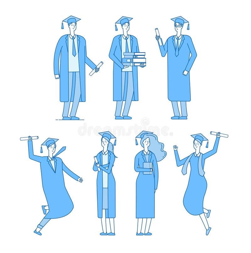 Caráter dos alunos diplomados O grupo de estudantes gradua a High School graduou a fêmea masculina nova na veste acadêmico Vetor ilustração stock
