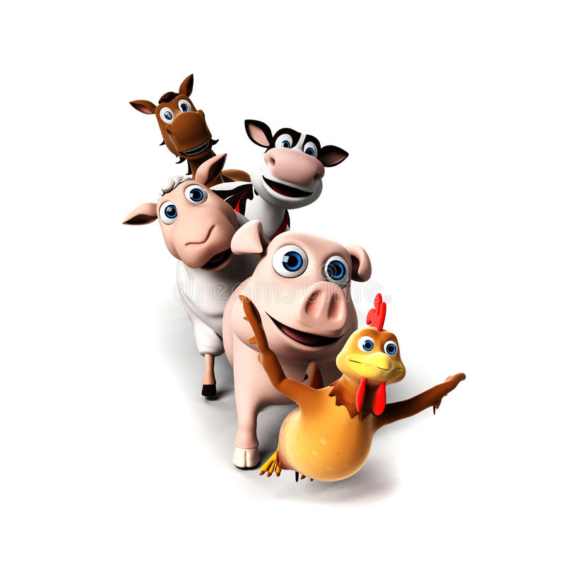 Caráter dos animais de exploração agrícola ilustração royalty free