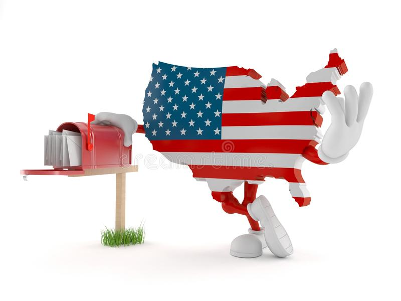 Caráter dos EUA com caixa postal ilustração do vetor