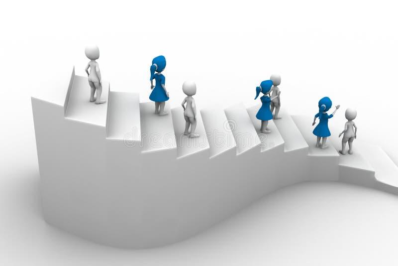 caráter dos povos 3d que corre acima em escadas ilustração do vetor