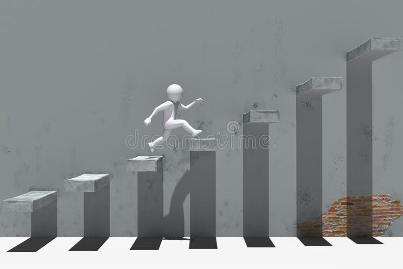 caráter dos povos 3d que corre acima em escadas ilustração stock