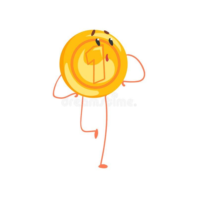 Caráter dourado brilhante da moeda com expressão surpreendida da cara Caráter da moeda de um centavo dos desenhos animados no est ilustração royalty free