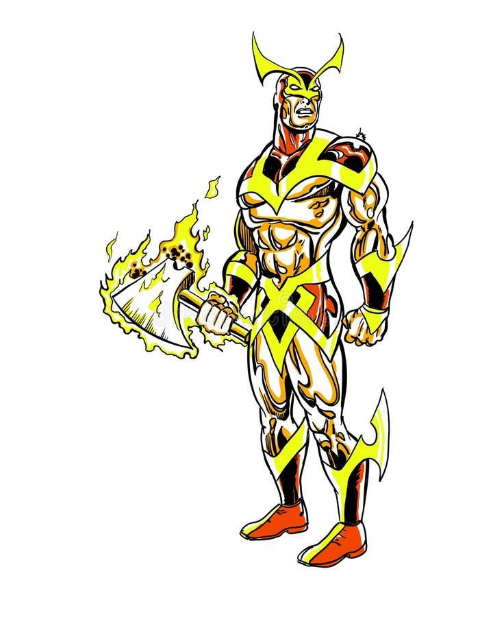Caráter dourado da banda desenhada do assassino ilustração do vetor