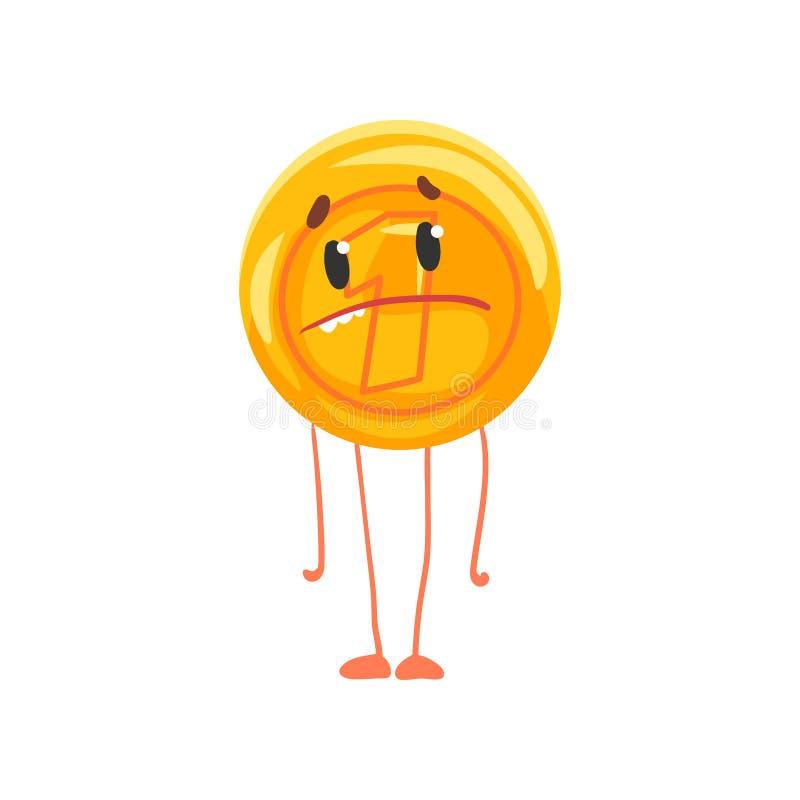 Caráter dourado da moeda com cara, pés e os braços tristes Ícone brilhante da moeda de um centavo Unidade de moeda Dinheiro dos d ilustração royalty free