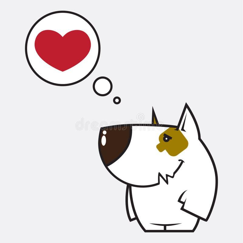 Caráter e coração do cão dos desenhos animados ilustração stock