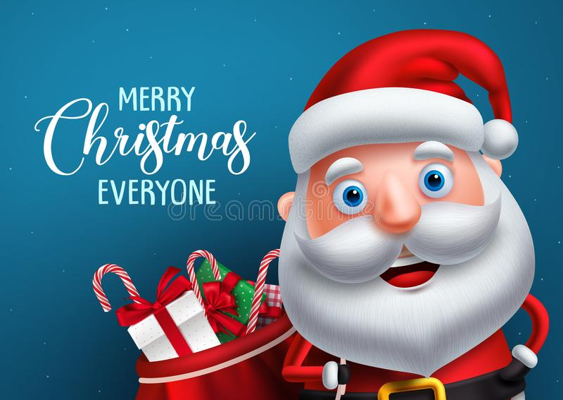 Caráter e Feliz Natal do vetor de Papai Noel que cumprimentam em uma bandeira azul do fundo ilustração do vetor