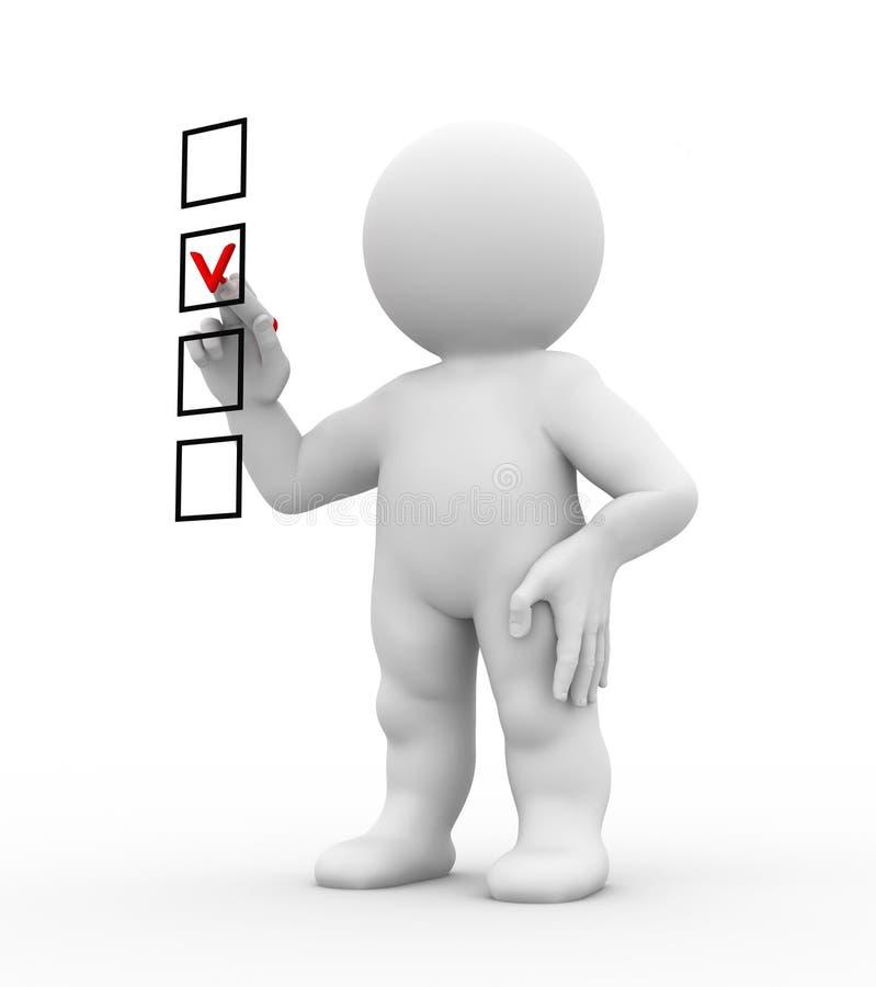 Caráter e lista de verificação ilustração stock