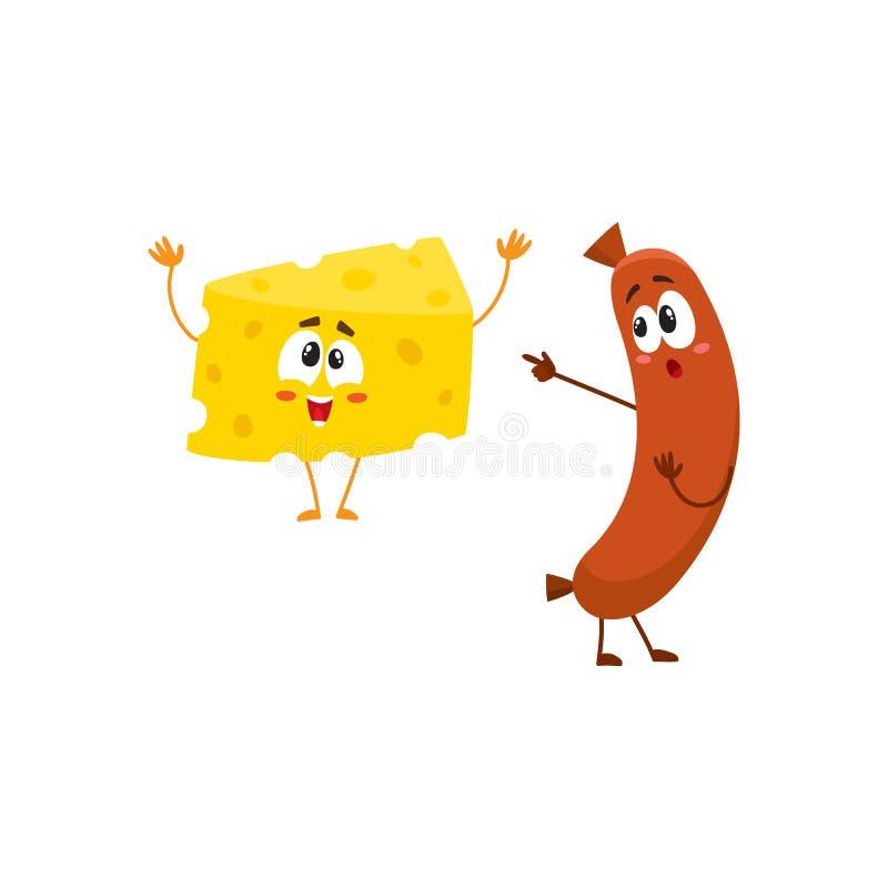 Caráter embaraçado da salsicha de salsicha tipo frankfurter que aponta ao pedaço engraçado do queijo ilustração royalty free