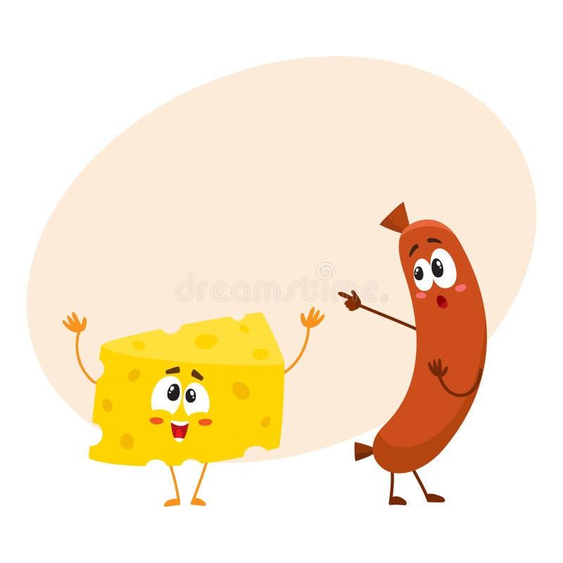 Caráter embaraçado da salsicha de salsicha tipo frankfurter que aponta ao pedaço engraçado do queijo ilustração stock