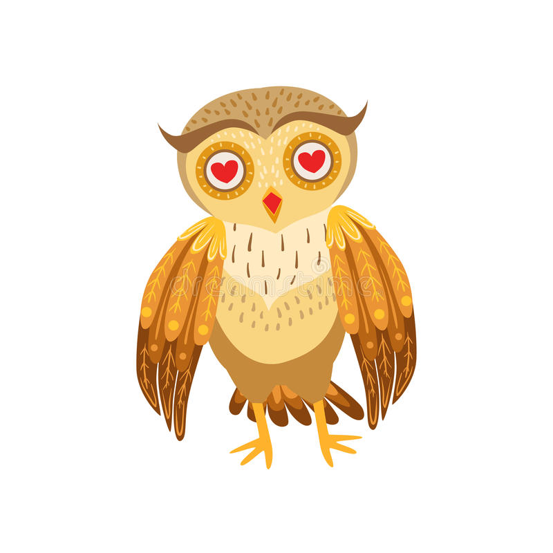 Caráter Emoji de Owl In Love Cute Cartoon com Forest Bird Showing Human Emotions e comportamento ilustração stock