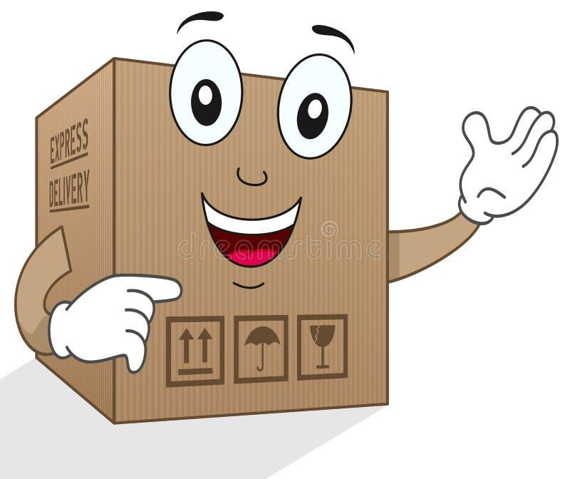 Caráter engraçado da caixa de cartão da entrega ilustração royalty free