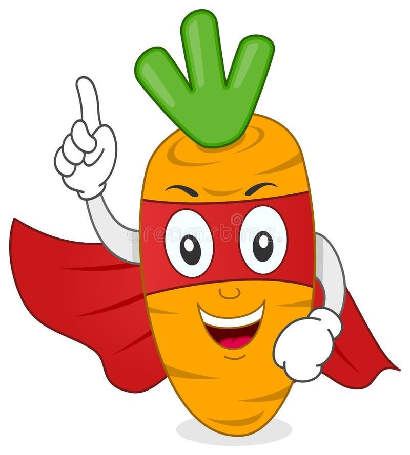 Caráter engraçado da cenoura do super-herói ilustração do vetor