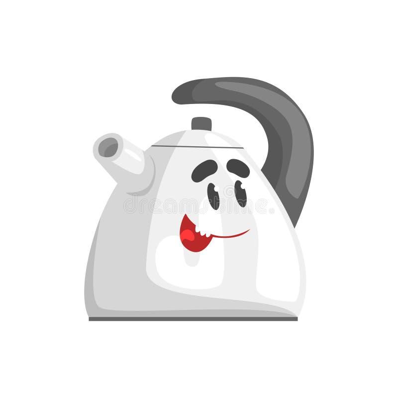 Caráter engraçado da chaleira com cara de sorriso, ilustração home humanizada do vetor do equipamento bonde ilustração do vetor