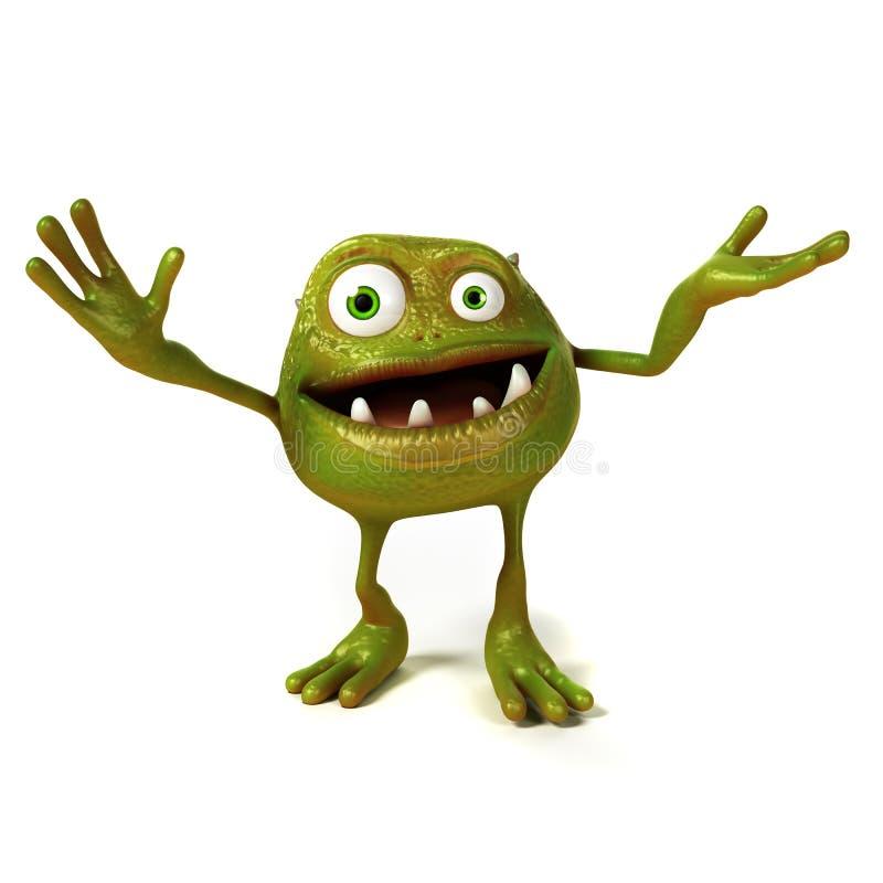 Caráter engraçado de Toon das bactérias ilustração do vetor