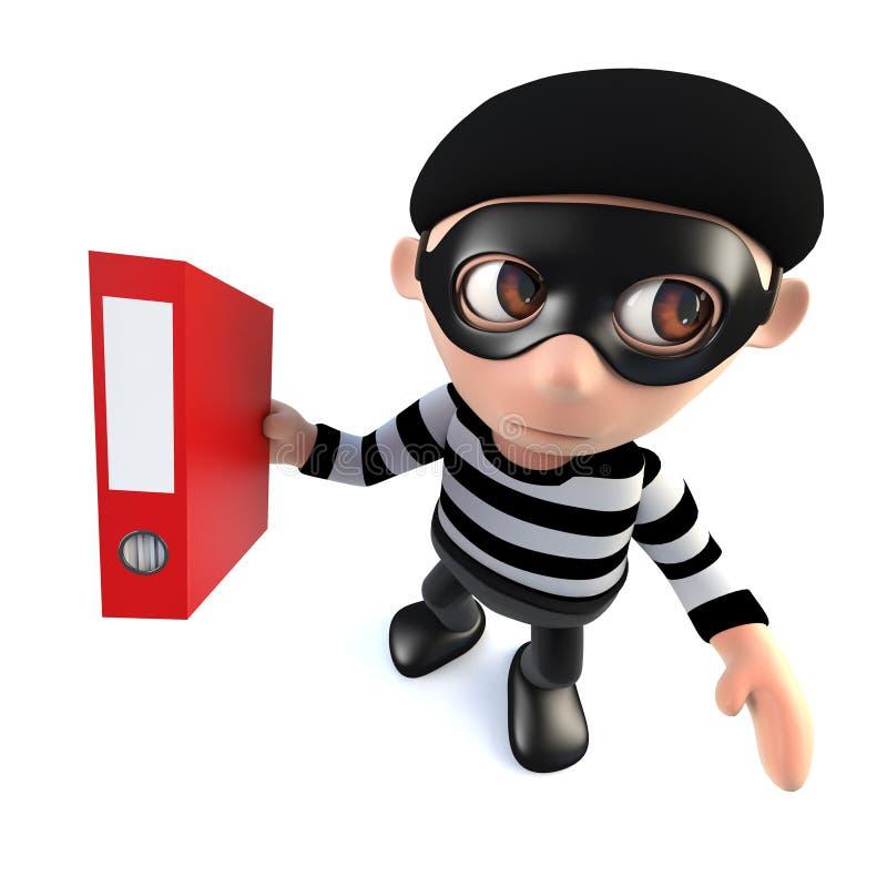 caráter engraçado do ladrão do assaltante dos desenhos animados 3d que rouba um dobrador completamente dos dados ilustração stock