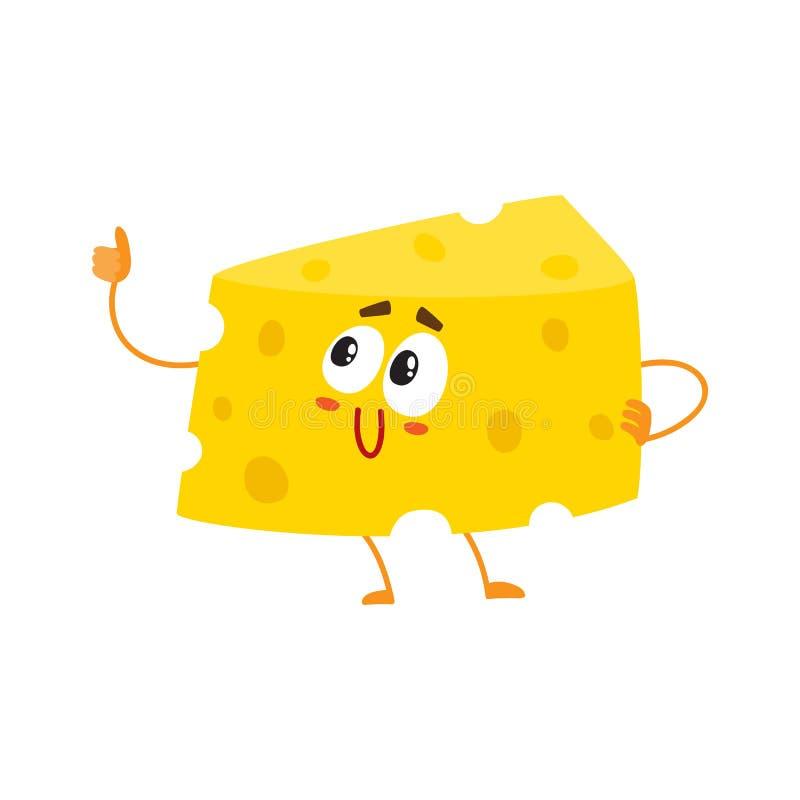 Caráter engraçado do pedaço do queijo que mostra o polegar acima, conceito da boa qualidade ilustração stock