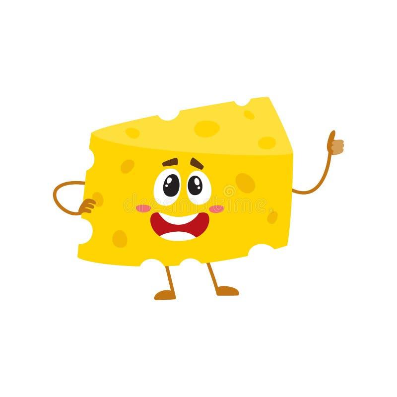 Caráter engraçado do pedaço do queijo que mostra o polegar acima, conceito da boa qualidade ilustração do vetor
