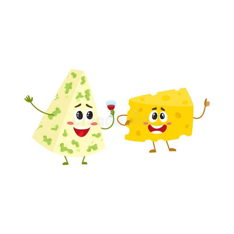 Caráter engraçado do pedaço do queijo que mostra o polegar acima, conceito da boa qualidade ilustração royalty free
