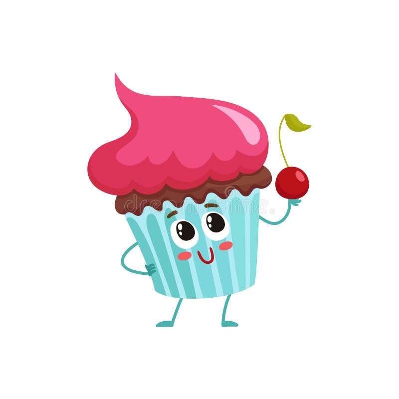 Caráter engraçado do queque com cobertura de creme cor-de-rosa ilustração royalty free