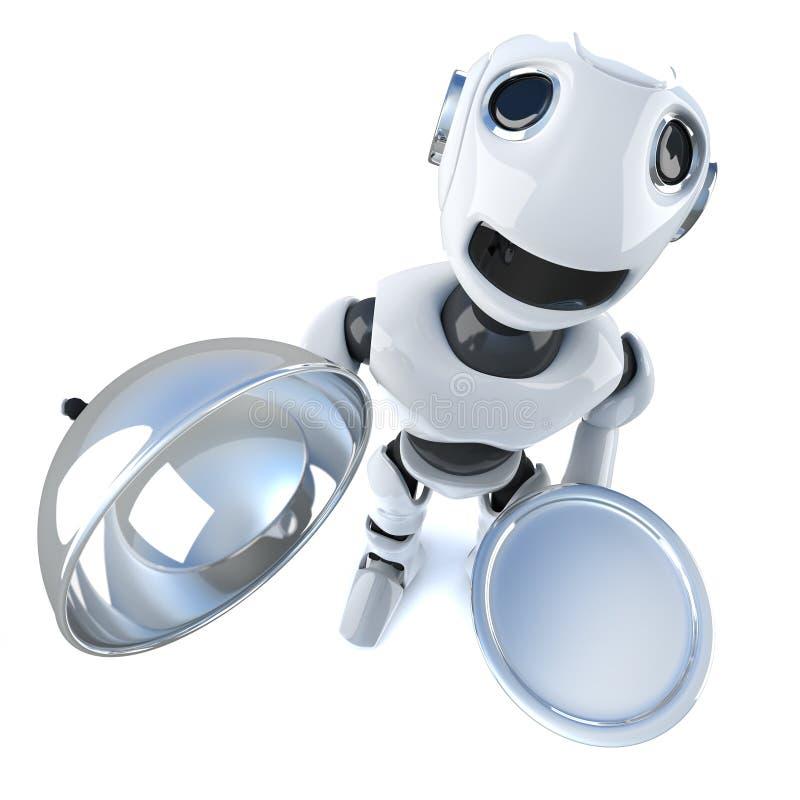 caráter engraçado do robô dos desenhos animados 3d que guarda uma bandeja e uma tampa de prata do VIP do serviço ilustração royalty free