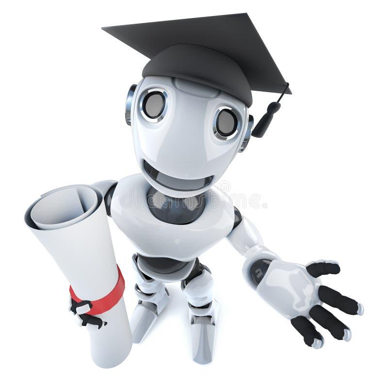caráter engraçado do robô dos desenhos animados 3d que veste uma placa graduada do almofariz e que guarda um diploma ilustração stock