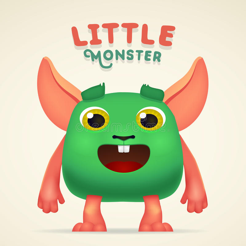 Caráter estrangeiro da criatura do verde bonito dos desenhos animados com rotulação pequena do monstro Coelho macio do mutante do ilustração do vetor