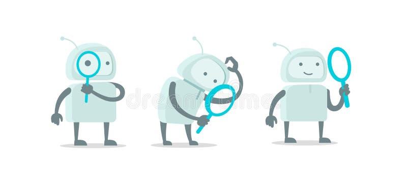 Caráter estrangeiro do robô com grupo da lupa da lente de aumento Com busca da lupa Estoque liso da ilustração do vetor da cor ilustração do vetor